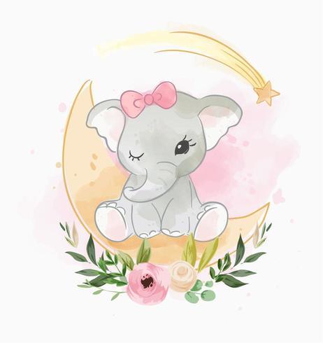 elefantino seduto sulla luna con fiore vettore
