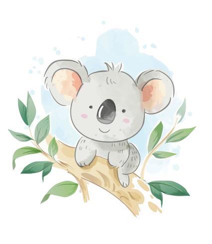 Koala del fumetto che si siede sull'illustrazione del ramo di albero vettore