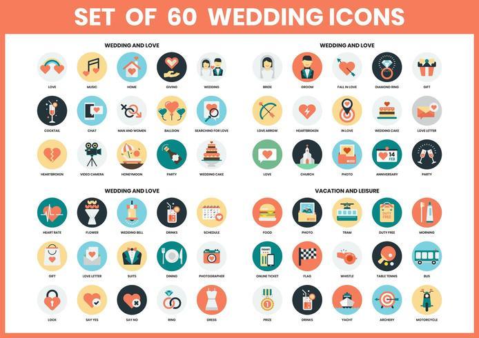 Set di icone di nozze vettore