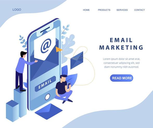 landing page isometrica marketing e-mail vettore