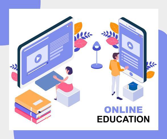 Concetto isometrico di formazione online vettore