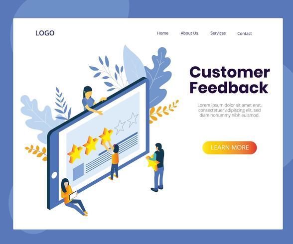 Feedback dei clienti Pagina informativa vettore