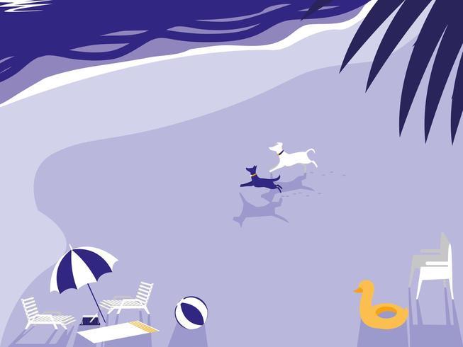 spiaggia tropicale con cani mascotte e ombrellone vettore