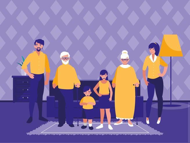 gruppo di membri della famiglia nel soggiorno vettore