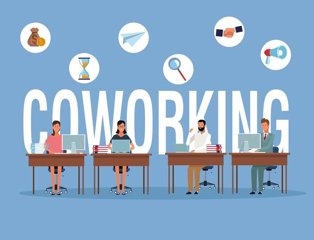 Coworking businesspeople at desk vettore