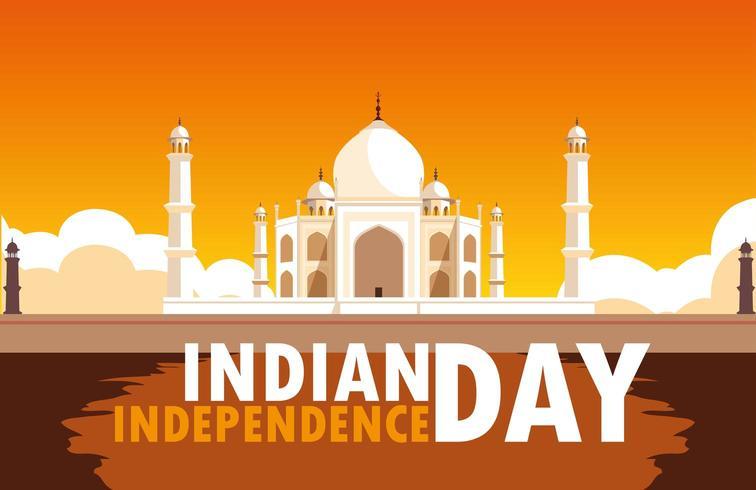 poster di festa dell'indipendenza indiana con moschea taj majal vettore