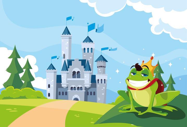 principe ranocchio con fiaba castello nel paesaggio montuoso vettore