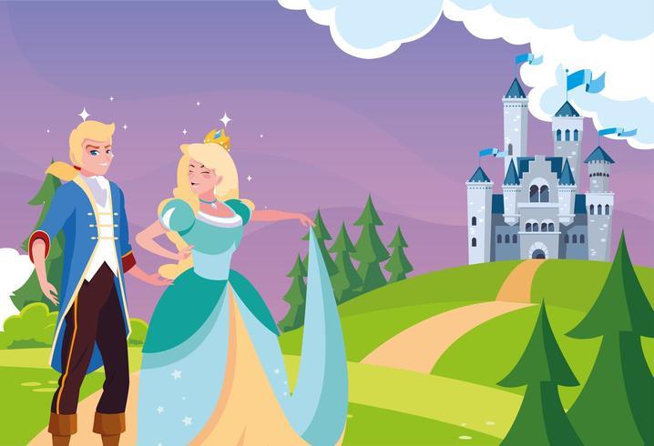 principessa e principe con castello da favola nel paesaggio vettore