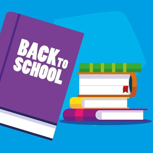 ritorno a scuola set di libri vettore