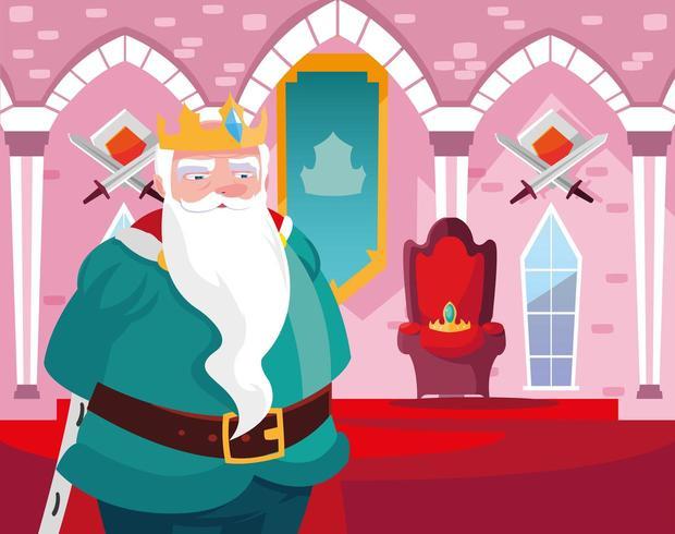 re nel castello delle fiabe con decorazioni vettore
