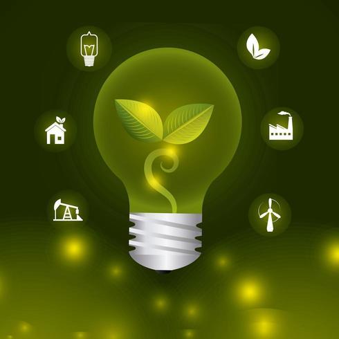 Icone di energia ed ecologia verdi vettore