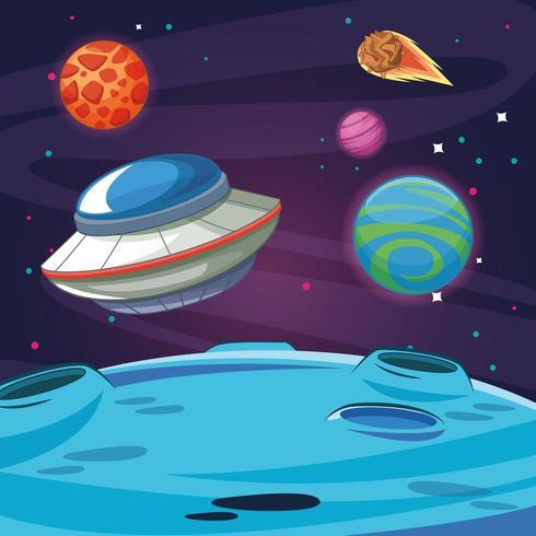 Astronave aliena UFO nella galassia vettore