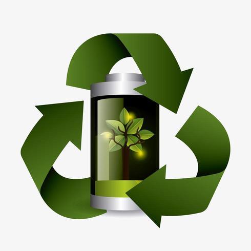 Design della batteria a energia verde. vettore