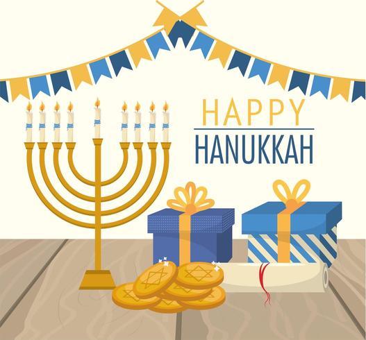 felice festa di hanukkah con bandiere di festa vettore