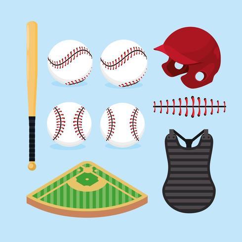 impostare attrezzature professionali per il baseball vettore