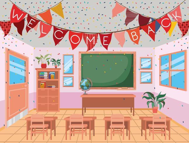 Welcome Back School Classroom vettore