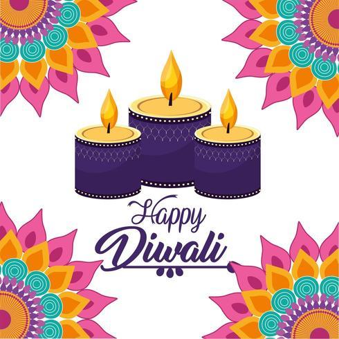 candele di diwali si illuminano di fiori di mandala vettore
