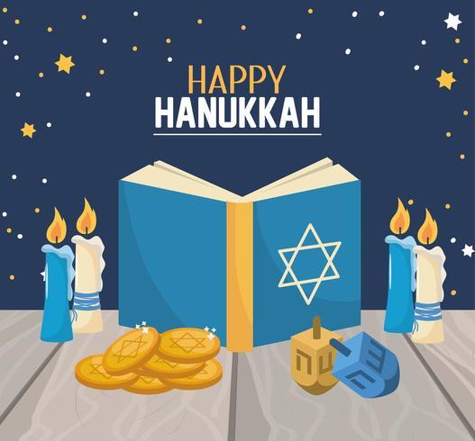 libro di Hanukkah con candele e decorazioni di spin vettore