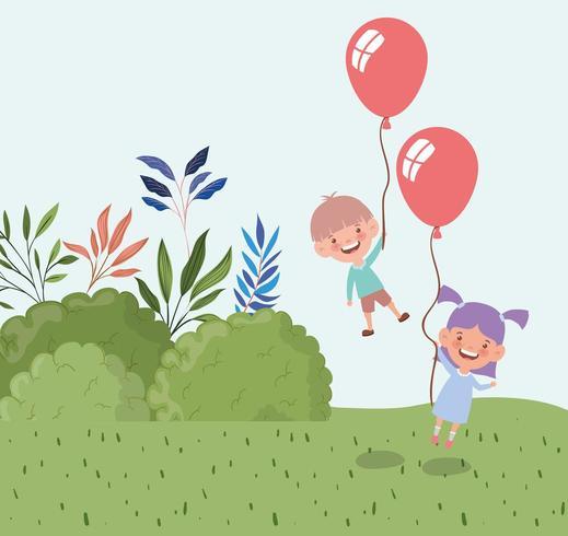 bambini felici con palloncini elio nel campo vettore