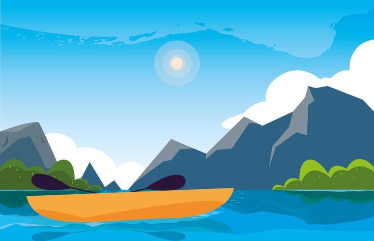 scena del bellissimo paesaggio con fiume e kayak vettore