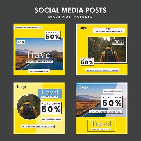 Offerta di viaggio promozionale post design sociale vettore