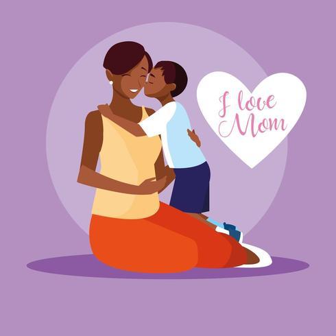 madre con figlio carino personaggio avatar vettore