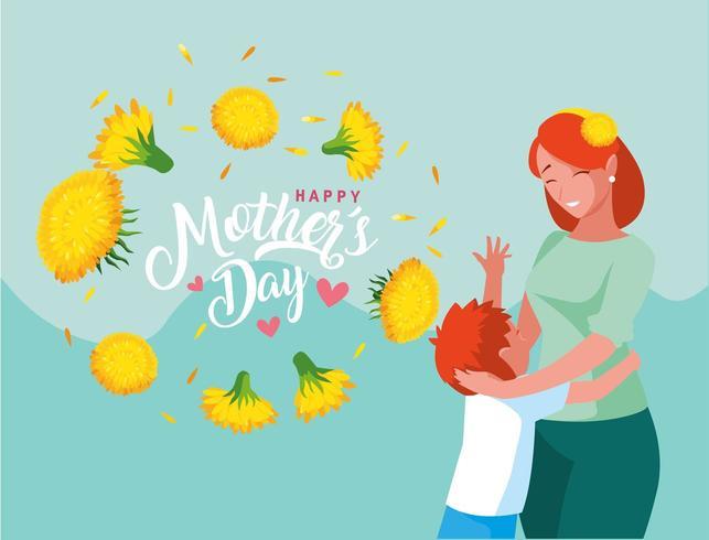 felice festa della mamma con mamma e figlio vettore