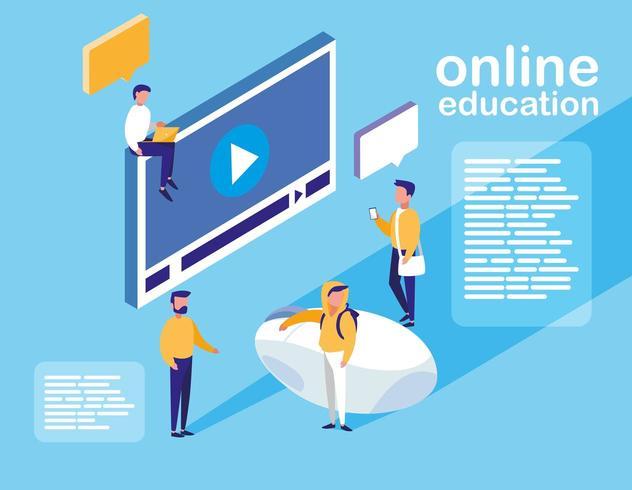 formazione online con display del lettore multimediale e mini persone vettore