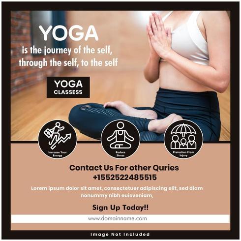 Modello di social media salute yoga vettore