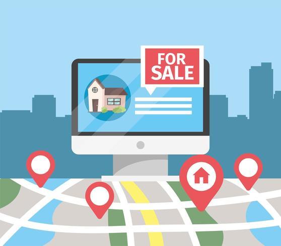 computer con vendita di case e posizione sulla mappa vettore
