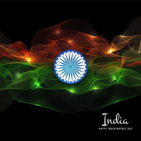 onda indiana del fondo di concetto della bandiera per la festa dell'indipendenza vettore