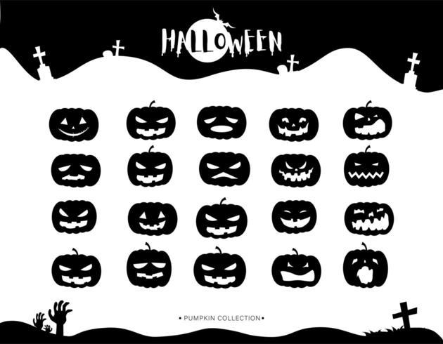 Raccolta delle icone della zucca delle siluette di Halloween vettore