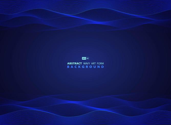 Tecnologia blu design ondulato di opere d'arte moderna vettore