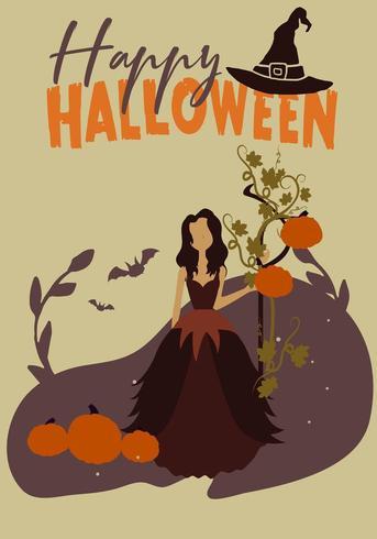 Manifesto del partito di Halloween con la strega vettore