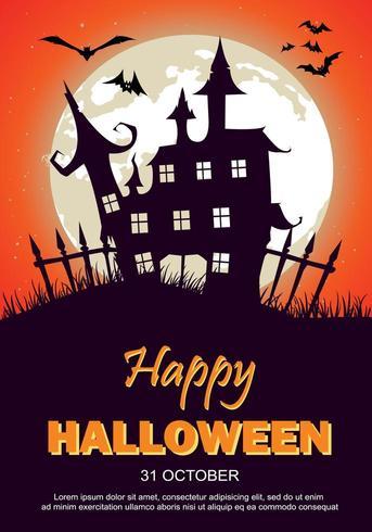 Manifesto del partito di Halloween con casa stregata, luna e pipistrelli vettore