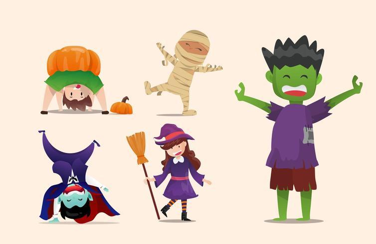 Bambini in costumi di Halloween vettore