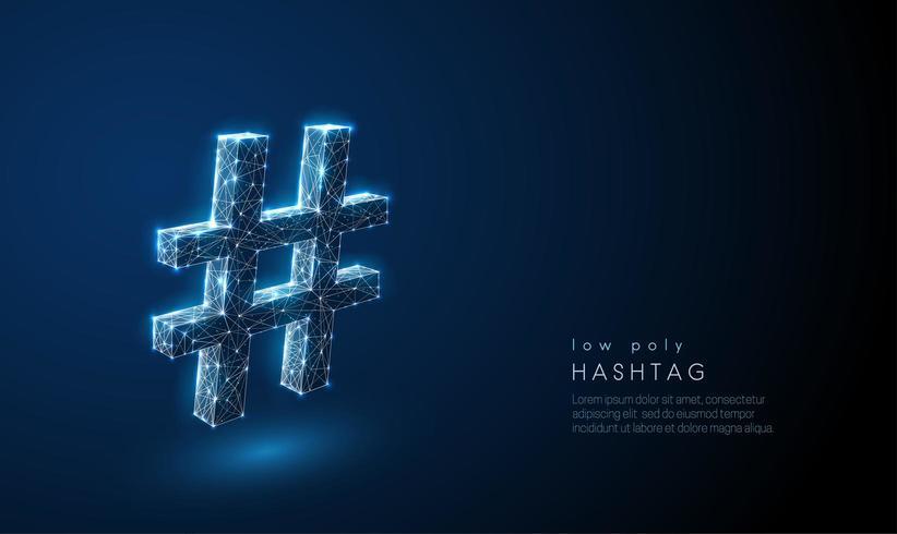 Simbolo di tag hash astratto. Design in stile poli basso. vettore