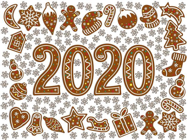Simboli di Natale di Pan di zenzero. Icona del nuovo anno 2020 vettore