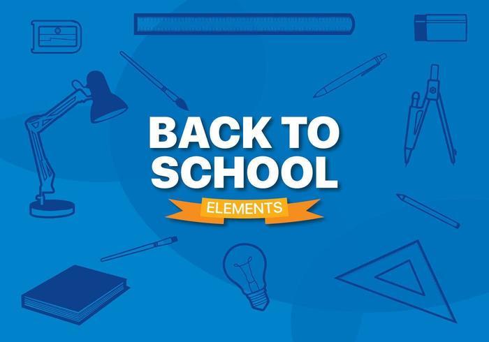 Elementi di linea di attrezzature per la scuola con uno sfondo blu vettore