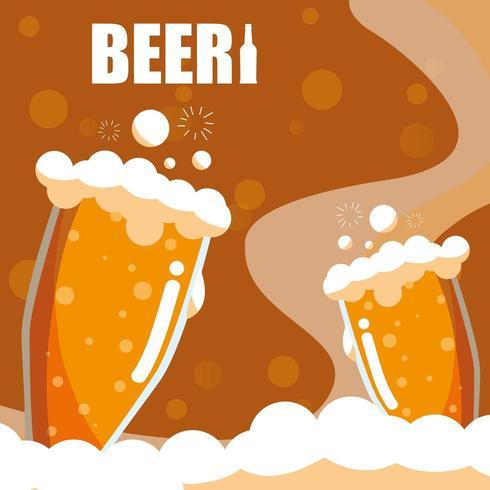 Icona isolata bicchieri di birra vettore