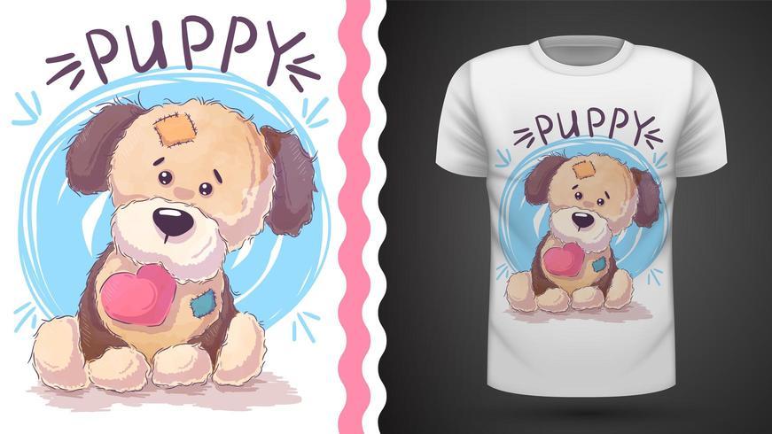 Cucciolo con cuore - idea per t-shirt stampata vettore