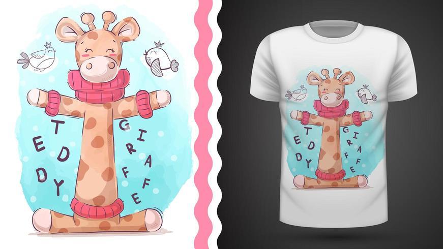 Uccello e giraffa - idea per t-shirt stampata vettore