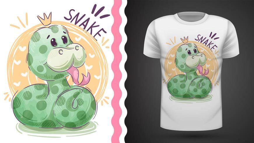 Simpatico serpente principessa - idea per t-shirt stampata vettore