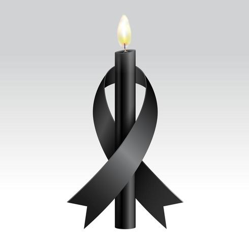 Nastro nero e candela nera per il lutto vettore
