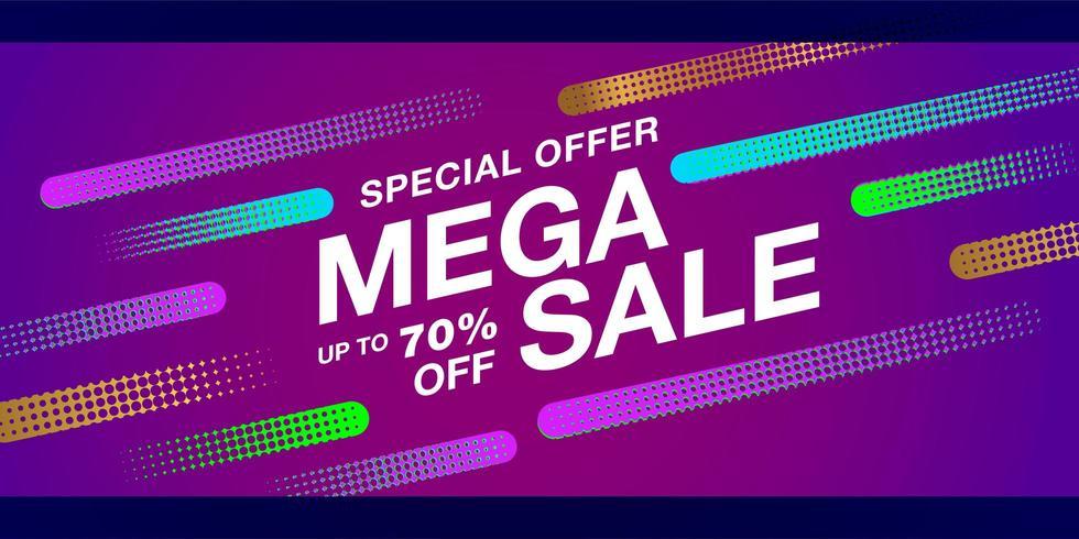 Banner di vendita finale di offerta speciale con forme colorate di mezzetinte vettore