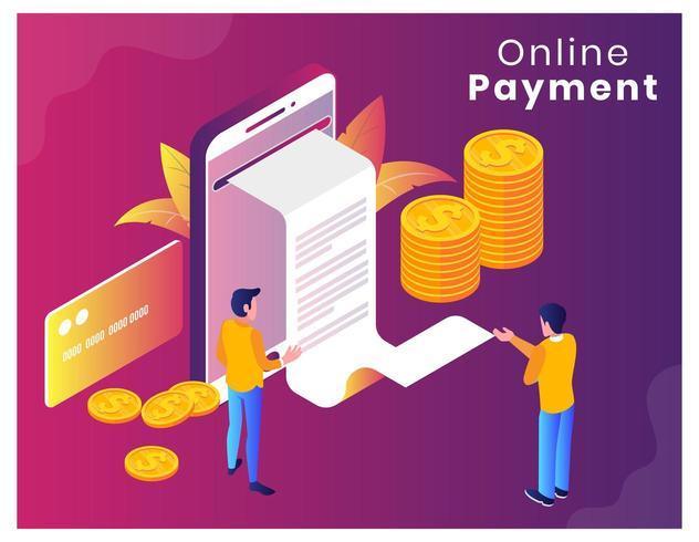 Pagina di destinazione vettore isometrico pagamento online