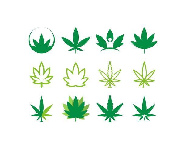 Set di icone di cannabis vettore