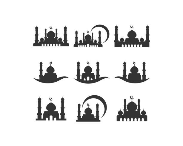Insieme dell'icona della siluetta della moschea vettore