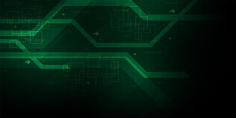 Linee geometriche digitali verdi astratte fondo vettore