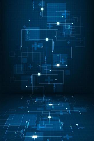 Forme e linee geometriche astratte verticali di tecnologia vettore
